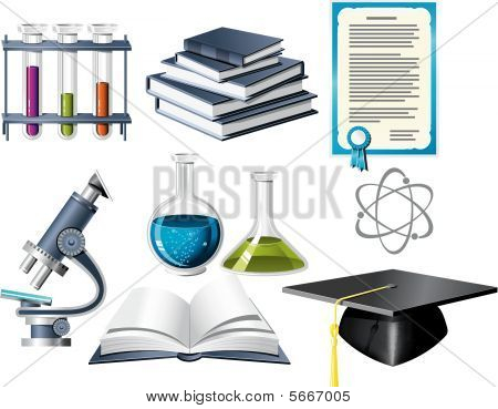 Постер, плакат: Значки науки и образования, холст на подрамнике