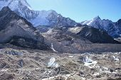 Khumbu Valley with the Himalayan Mountain Range in background in the Sagarmatha (Mount Everest) Nati