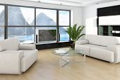 Modern sunny living room interior with nice furniture and panorama windows