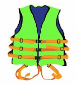 image of life-boat  - design of green life jacket for safety life in water - JPG