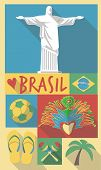 stock photo of carnival brazil  - vector illustration set of famous cultural symbols of brazil on a poster or postcard - JPG