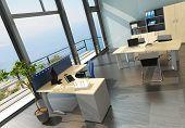 stock photo of premises  - Modern office interior with spledid seascape view - JPG