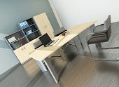 picture of premises  - Modern office interior with desk - JPG