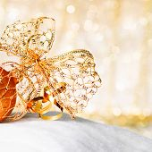 Gold Christmas Ball And Bow