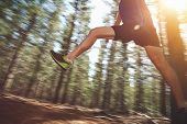 picture of leaping  - Runner jumping on trail run in forest for marathon fitness - JPG