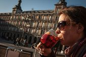 woman  drinking sangria