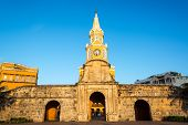 pic of india gate  - The historic clock tower gate is the main entrance into the old city of Cartagena Colombia - JPG