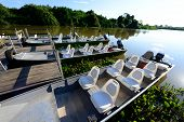 stock photo of biodiversity  - Tourist boat for river safari in Pantanal - JPG