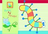 foto of grub  - Cute bugs and grubs embroidery print for children - JPG