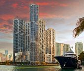 Miami Florida business and residential buildings at sunset