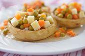stock photo of artichoke hearts  - Artichoke hearts stuffed with vegetables - JPG