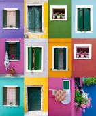 foto of front-entry  - Collection of windows and doors on colored walls in Venice - JPG