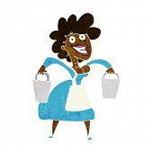 image of milkmaid  - cartoon milkmaid carrying buckets - JPG