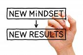 picture of psychological  - Hand writing New Mindset New Results with black marker on transparent wipe board - JPG