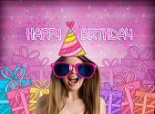 stock photo of crazy hat  - funny girl with party hat - JPG