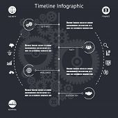 image of barge  - Timeline Infographics Elements symbols and Icons Vintage Retro Style Design Template on Stylish Abstract Gears Background Vector Illustration - JPG