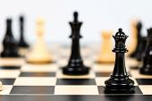 picture of indoor games  - Studio shot of chess game with chess pieces on white background - JPG