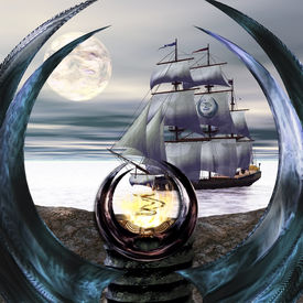 stock photo of oracle  - The mystical Oracle of seafarers on the beach - JPG