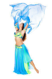 stock photo of belly-dance  - Beautiful young brunette belly dance woman isolated on white - JPG