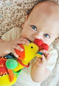 image of teething baby  - she is a sweet baby biting a toy - JPG
