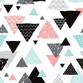 pic of tripe  - Seamless geometric mint tribal triangle hand drawn pastel background pattern in vector - JPG