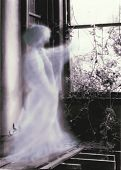image of banshee  - A glowing ghostly prescence points through the window of an old ruined mansion.
