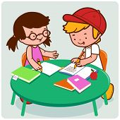 picture of homework  - Vector Illustration of a female and a male young student doing their homework - JPG