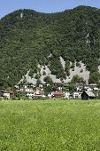 pic of avalanche  - Village below the hill in Slovenia there is a change of an avalanche - JPG