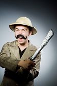 pic of safari hat  - Man in safari hat in hunting concept - JPG