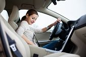 stock photo of car ride  - woman driving a car - JPG
