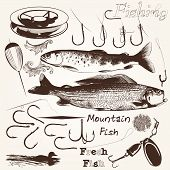 picture of hook  - Set of vector hand drawn fishes and hooks for fishing season design - JPG