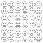 picture of angry smiley  - colorful illustration with set of smiley faces icons on a white background - JPG