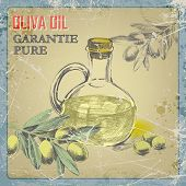 picture of olive trees  - hand drawing grunge  vintage label bottle of olive oil and a branch of an olive tree - JPG