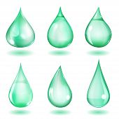 foto of teardrop  - Set of six opaque drops of different forms in turquoise colors - JPG