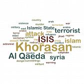 stock photo of extremist  - KHORASAN ISIS and Al Qaeda word cloud on white background - JPG