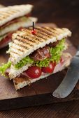 foto of tomato sandwich  - ham and bacon club sandwich on a white background - JPG