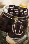picture of kalamata olives  - jar with pickled kalamata olives - JPG