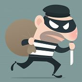 pic of smuggling  - Thief holding knife in his hand and carrying a money bag EPS10 Vector - JPG
