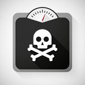 picture of skull crossbones  - Illustration of a weight scale with a skull - JPG