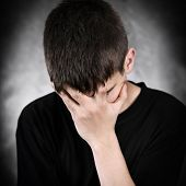 picture of sorrow  - The Vignetting Photo of Sorrowful Young Man - JPG
