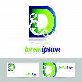 stock photo of letter d  - Green blue vector logo design of alphabet letter D - JPG