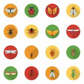 foto of insect  - Insects icons flat set with dragonfly beetle woodlouse locust isolated vector illustration - JPG