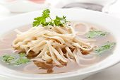 picture of rice noodles  - Beef Broth with Rice Noodle and Chili Sauce - JPG