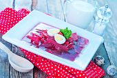 image of lenten  - beet soup in bowl and on a table - JPG