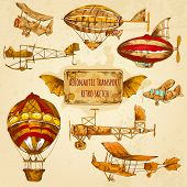 foto of decorative  - Vintage steampunk aviation colored sketch decorative icons set with zeppelin balloon and airplane isolated vector illustration - JPG