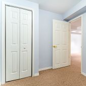 image of basement  - Empty basement room with closet and carpet - JPG