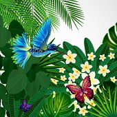 foto of tropical birds  - Tropical floral design background with bird - JPG