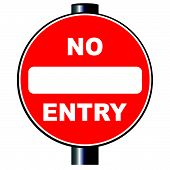 pic of no entry  - A large round red traffic no entry sign over white - JPG