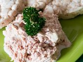 image of diabetes  - Inexpensive snack or breakfast for a diabetic person tuna salad with light mayo and onions served with rice cake natural light scene - JPG