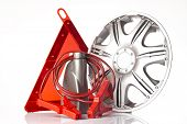 image of rectifier  - warning triangle and road emergency items isolated on white - JPG